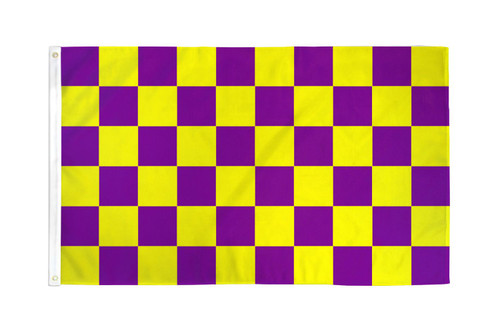 Purple & Yellow Checkered Flag 3x5ft Poly