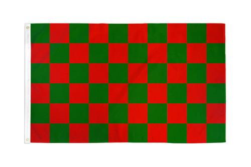 Red & Green Checkered Flag 3x5ft Poly