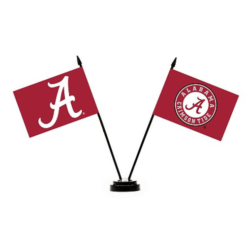 Alabama Crimson Tide 2 Flag Desk Set