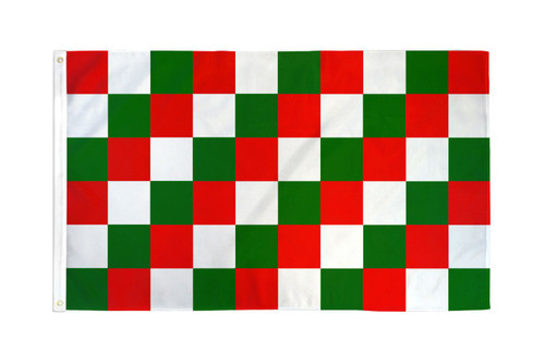 Red, Green & White Checkered Flag 3x5ft Poly