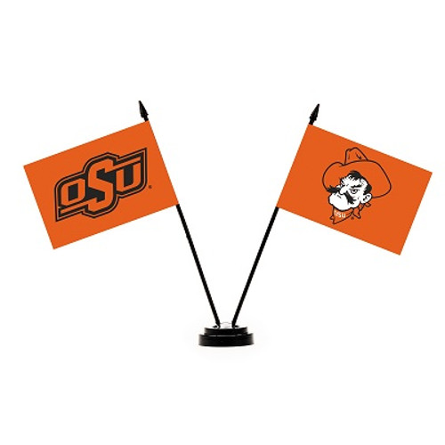 Oklahoma State Cowboys 2 Flag Desk Set