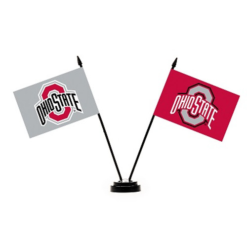 Ohio State Buckeyes 2 Flag Desk Set