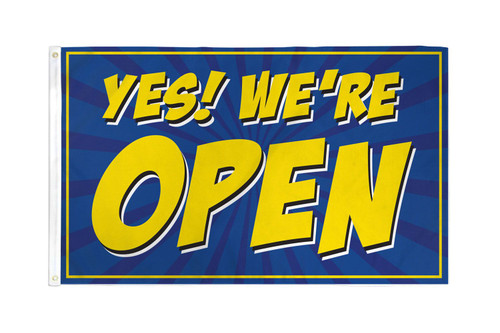 Yes! We're Open (Blue) Flag 3x5ft Poly