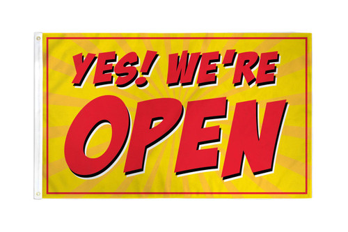 Yes! We're Open (Red) Flag 3x5ft Poly