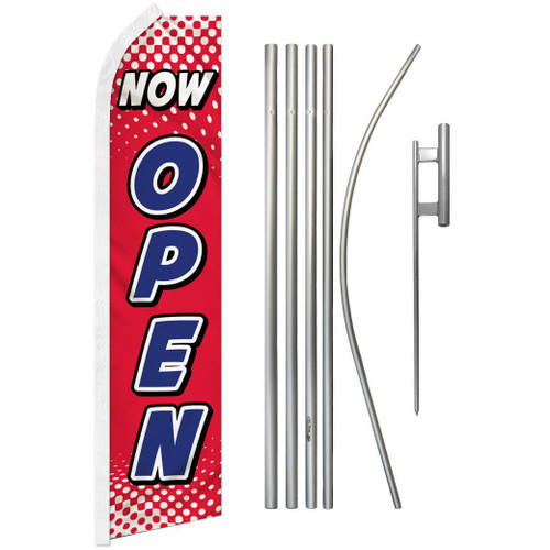 Now Open (Red & White) Super Flag & Pole Kit