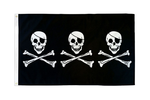 3 Skulls Pirate Flag 3x5ft Poly