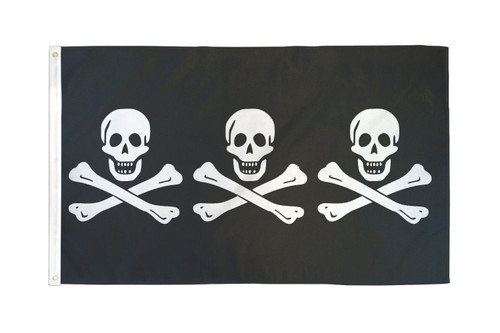 C. Condent 3 Skulls Pirate Flag 3x5ft Poly