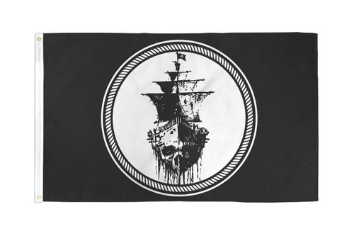 Black Sea Pirate Flag 3x5ft Poly