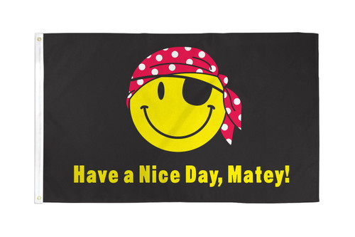 Pirate Happy Face Flag 3x5ft Poly