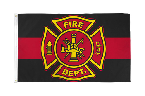 Fire Department (Red & Black) Flag 3x5ft Poly