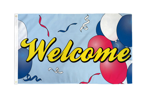 Welcome (Balloons) Flag 3x5ft Poly