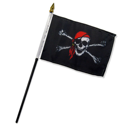 Red Bandana Jolly Roger 4x6in Stick Flag