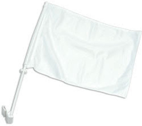 White Solid Color Double-Sided Car Flag