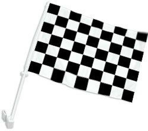 Black & White Checkered Double-Sided Car Flag