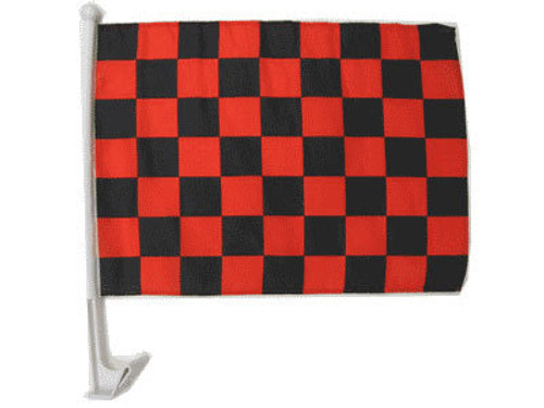 Red & Black Checkered Single-Sided Car Flag