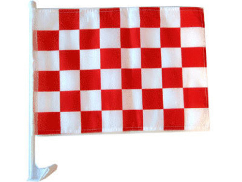 Red & White Checkered Single-Sided Car Flag