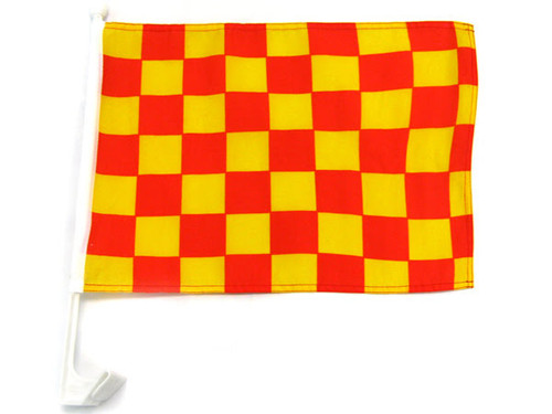 Red & Yellow Checkered Single-Sided Car Flag