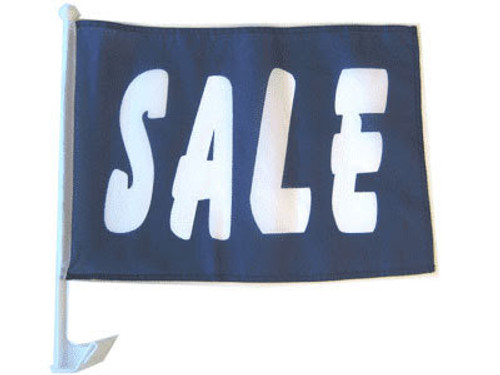 Sale (Blue) Single-Sided Car Flag