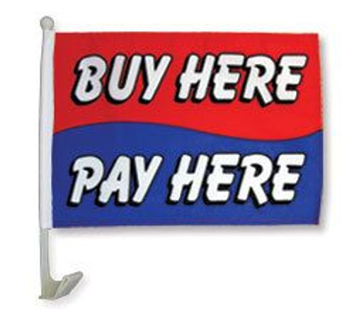 Buy Here Pay Here (Red & Blue) Car Flag