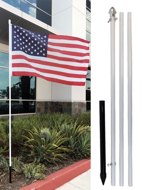 10ft Flag Pole & Ground Spike Outdoor Kit - Choice of White or Silver