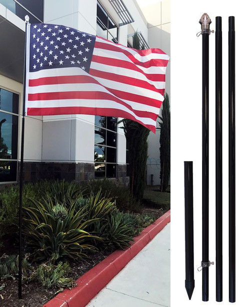 10ft Aluminum (Black) Outdoor Pole with Ground Spike