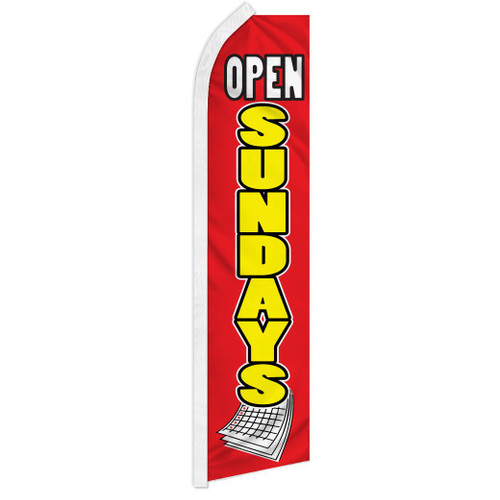 Open Sundays (Red & Yellow) Super Flag