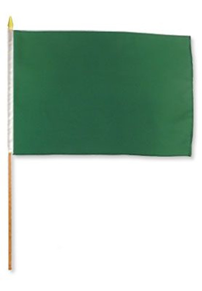 Dark Green Solid Color 12x18in Stick Flag