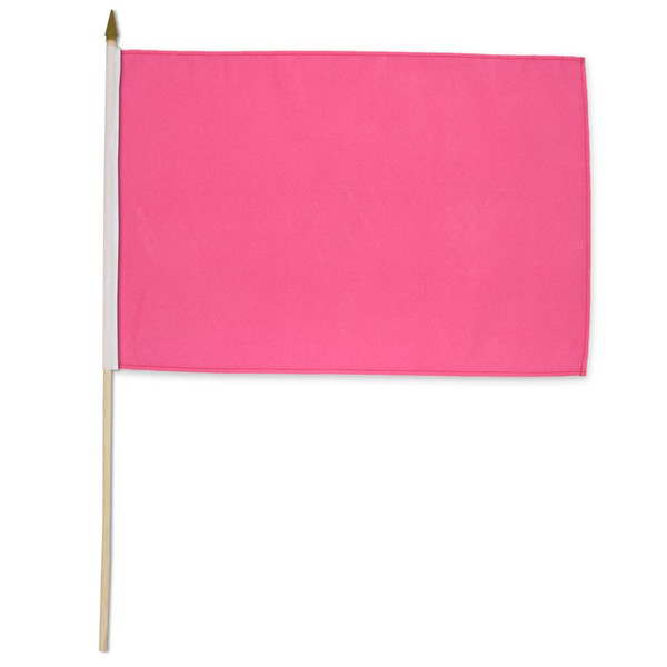Pink Solid Color 12x18in Stick Flag