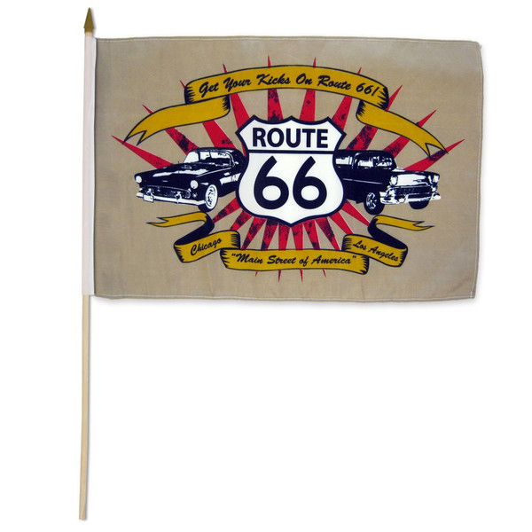 Route 66 (Cars) 12x18in Stick Flag