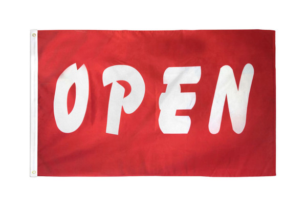 Open (Red & White) Flag 3x5ft Poly