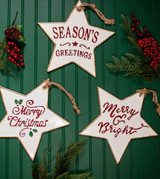 Metal Holiday Star Christmas Tree Ornaments Merry Christmas