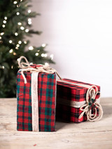 Red Red Plaid Package Christmas Tree Ornaments