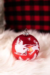 Red and White Santa Sleigh Glass Ball Christmas Tree Ornaments
