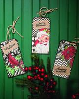 MDF Burlap Holiday Tag Christmas Tree Ornaments