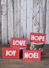 Red and White Wood Block Christmas Décor