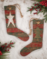 Star and Tree Holiday Hanging Stocking