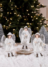 White and Silver Resin Winter Angels