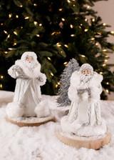 White Glitter Resin Santa Figurine