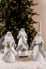 White and Silver Glitter Resin Santa