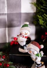 Resin Skiing Snowman Green Hat
