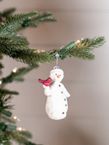 Resin Snowman with Cardinal Christmas Tree Ornaments