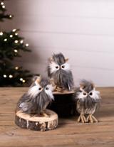 Small Faux Fur Owl Figurine
