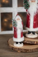 Vintage Santa with Tree Figurine