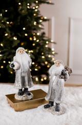 Small Resin Silver Santa Figurine