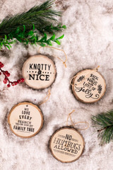 Tree Cross-sectioned  Deck Halls Christmas Tree Ornaments