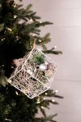 Wire Cone Gift Box Christmas Tree Ornaments