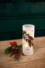 Crackle Frosted Glass Pinecone Candle