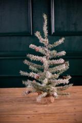 Large Faux Icy Pine w/ Burlap Base Tree