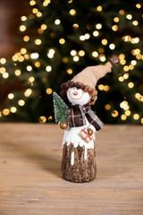 Resin Burlap Hat Snowman