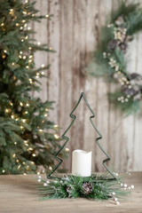 Metal Green Tree Candle Centerpiece
